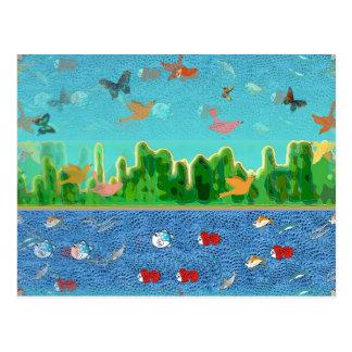 Céu surrealista e cartão do Seascape