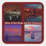 Céus de San Diego e de San Francisco Adesivos Quadrados