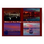 Céus de San Diego e de San Francisco Cartão