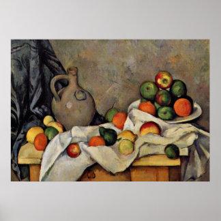 Cezanne - cortina, jarro e fruta pôster