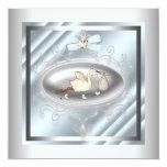 Chá azul de prata do bebé da cegonha convite personalizado