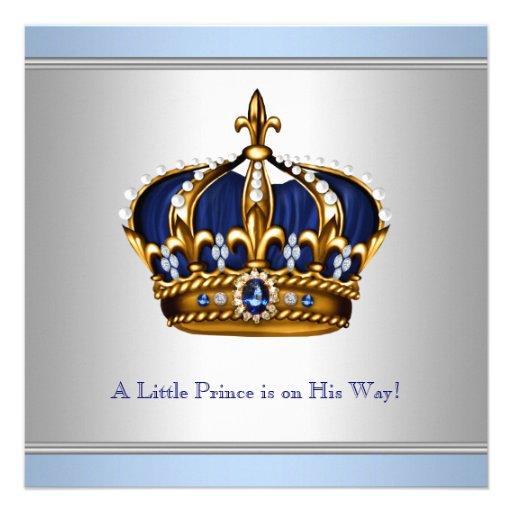 Chá azul de prata do bebé do príncipe herdeiro convites personalizados