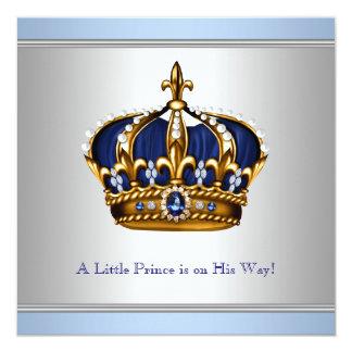Chá azul de prata do bebé do príncipe herdeiro convite quadrado 13.35 x 13.35cm