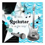 Chá azul do bebé da estrela do rock da zebra da convite quadrado 13.35 x 13.35cm