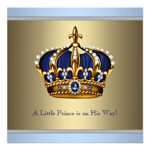 Chá azul do bebé do príncipe herdeiro do ouro convites personalizado