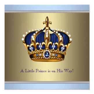 Chá azul do bebé do príncipe herdeiro do ouro convite quadrado 13.35 x 13.35cm