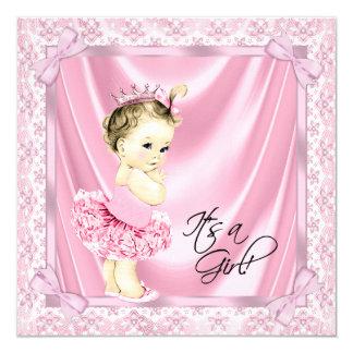 Chá cor-de-rosa da bailarina do bebé do tutu convite quadrado 13.35 x 13.35cm