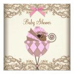 Chá cor-de-rosa do bebé do afro-americano do laço convite personalizados