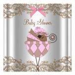 Chá cor-de-rosa do bebé do afro-americano do laço  convite