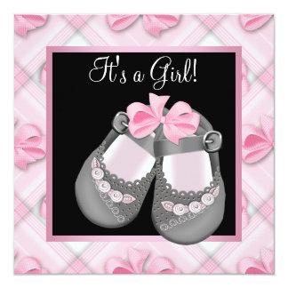 Chá cor-de-rosa do bebé do preto do rosa dos convite quadrado 13.35 x 13.35cm