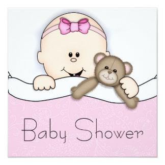 Chá cor-de-rosa do bebé do urso de ursinho convite quadrado 13.35 x 13.35cm