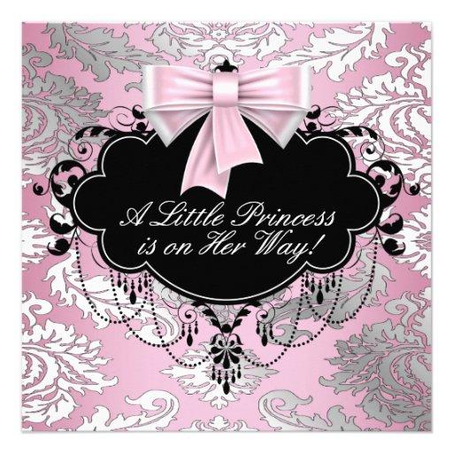 Chá cor-de-rosa e preto de prata da princesa bebé convites