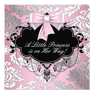 Chá cor-de-rosa e preto de prata da princesa bebé convite quadrado 13.35 x 13.35cm