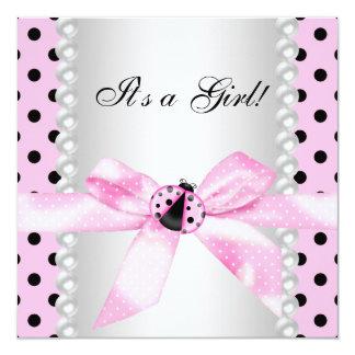 Chá cor-de-rosa preto do bebé do joaninha das convite quadrado 13.35 x 13.35cm