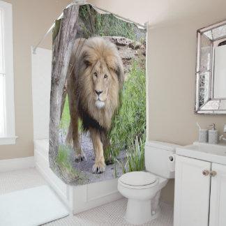 Chá Cutrain do impressão da foto do leão Cortinas Para Chuveiro