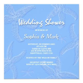 Chá de casamento azul da estrela do mar da convite quadrado 13.35 x 13.35cm