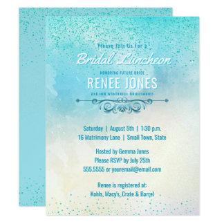 Chá de casamento nupcial chique do azul da cerceta convite 10.79 x 13.97cm
