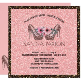 Chá de casamento nupcial do brilho   do rosa do convite quadrado 13.35 x 13.35cm