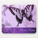 Chá de casamento roxo elegante da borboleta mouse pads