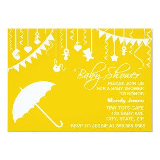 Chá de fraldas amarelo brilhante do contemporâneo convites personalizados