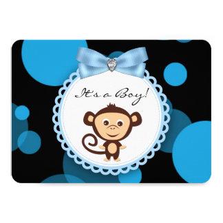 Chá de fraldas azul do macaco convite 11.30 x 15.87cm
