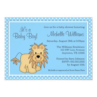 Chá de fraldas azul do menino das bolinhas do leão convite 12.7 x 17.78cm