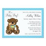 Chá de fraldas azul do menino das bolinhas do urso convites personalizado