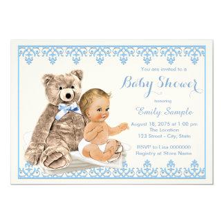 Chá de fraldas azul do urso de ursinho convite 12.7 x 17.78cm