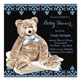 Chá de fraldas azul do urso de ursinho convite quadrado 13.35 x 13.35cm