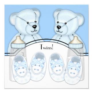 Chá de fraldas azul dos meninos do gêmeo do urso convite quadrado 13.35 x 13.35cm
