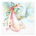 Chá de fraldas azul e cor-de-rosa da cerceta da ce convites personalizados