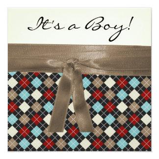 Chá de fraldas azul preto vermelho dos meninos de convite quadrado 13.35 x 13.35cm