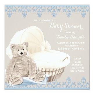 Chá de fraldas bege e azul do urso de ursinho convite quadrado 13.35 x 13.35cm