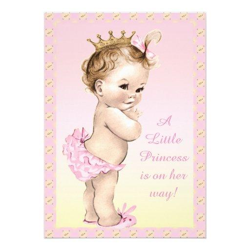 Chá de fraldas bonito da princesa Floral do Convite Personalizado
