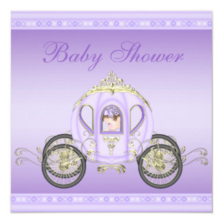 Chá de fraldas bonito da princesa Treinamento Roxo Convite Quadrado 13.35 X 13.35cm