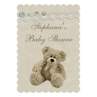 Chá de fraldas bonito do laço do vintage do urso convite 12.7 x 17.78cm