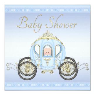 Chá de fraldas bonito do príncipe Treinamento Azul Convite Quadrado 13.35 X 13.35cm