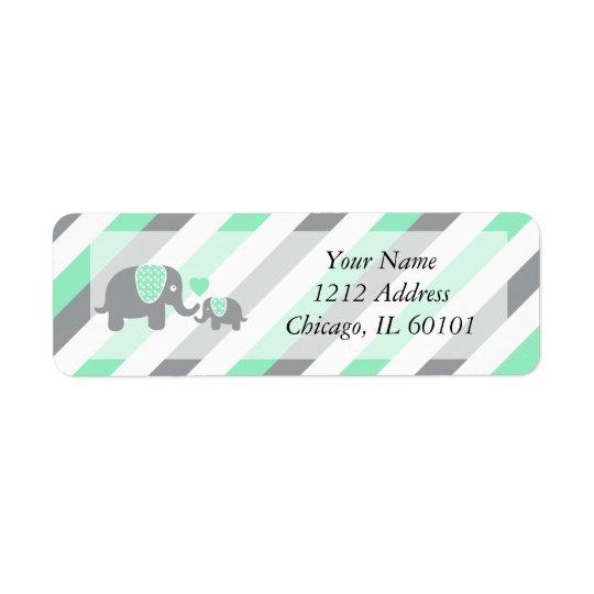 Chá de fraldas branco, verde & cinzento dos etiqueta endereço de retorno