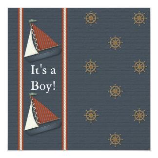 Chá de fraldas branco vermelho do veleiro dos convite quadrado 13.35 x 13.35cm
