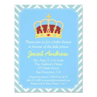 Chá de fraldas Chevron branco azul do príncipe Convites