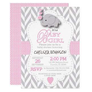 Chá de fraldas cinzento cor-de-rosa, branco do convite 12.7 x 17.78cm