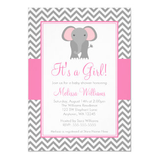 Chá de fraldas cinzento cor-de-rosa da menina de convite 12.7 x 17.78cm