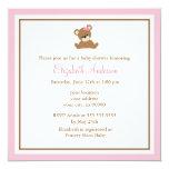 Chá de fraldas cor-de-rosa bonito do urso convite