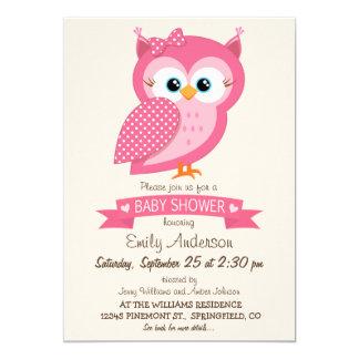 Chá de fraldas cor-de-rosa & branco da coruja das convite 12.7 x 17.78cm