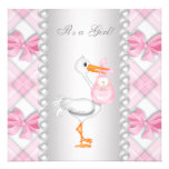 Chá de fraldas cor-de-rosa da cegonha das pérolas convite personalizados