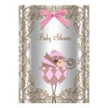Chá de fraldas cor-de-rosa da menina do laço de Br Convites
