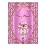 Chá de fraldas cor-de-rosa da menina do laço de convite