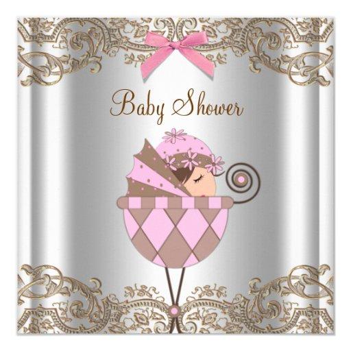 Chá de fraldas cor-de-rosa da menina do laço de convite quadrado 13.35 x 13.35cm