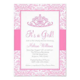 Chá de fraldas cor-de-rosa da princesa Coroa Convite 11.30 X 15.87cm