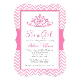 Chá de fraldas cor-de-rosa da princesa Coroa Convite 12.7 X 17.78cm